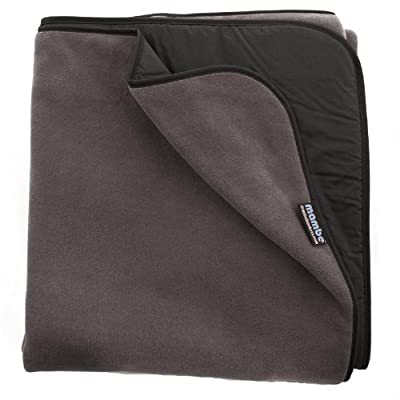 Mambe Large Essential 100% Waterproof/Windproof Stadium, Camping, Picnic and Outdoor Blanket (Large, Charcoal) Made in The USA