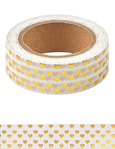 Party Pro 80834 Washi Tape Mini Hart, papier, wit/goud, 4,5 x 4,5 x 1,5 cm