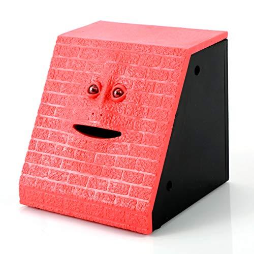 Kreatives Geld, das Kasten-Nette Facebank-Sensor-Münzen-Einsparungs-Sparschwein-Kindergeschenk isst (Color : RED)