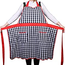 Love Potato 100% Cotton Vintage Gingham Kitchen Apron with Two Pockets, Small to Plus Size Ladies, Great Gift for Wife or Ladies