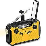 Mpencent Radio de Tiempo de manivela Solar de Emergencia Radio de Tiempo Am/FM/NOAA, Radio de Supervivencia de huracán portátil con Linterna LED, lámpara de Lectura,Amarillo