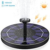 Solar Powered Fountain Pump, Peoture Solar Fountain with 1500 mAh Battery Backup Upgrade 2.5w,Free Standing Floating Solar Powered Water Fountain Pump for Bird Bath, Garden, Pond, Pool, Outdoor