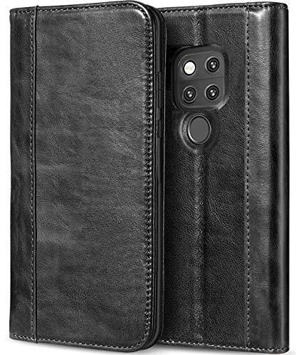 Huawei Mate 20 X Custodia a Portafoglio in Vera Pelle, ProCase Cover Protettiva Folio Vintage con Custodia e Supporti per Schede Multiple Chiusura Magnetica, per Huawei Mate 20 X (2018 Rilascio)-Nero