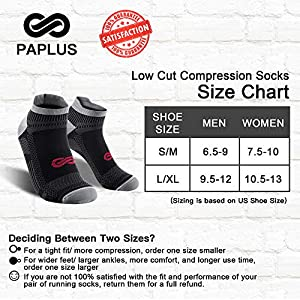 PAPLUS Ankle Compression Sock for Men and Women 2/4/6 Pairs, Low Cut Compression Running Sock with Ankle Support