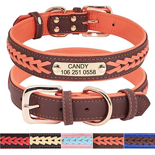 Didog - Collares para perro de piel personalizada con placa de latón grabada – Cuero trenzado suave acolchado personalizado – Collares ajustables para mascotas para perros pequeños, medianos y