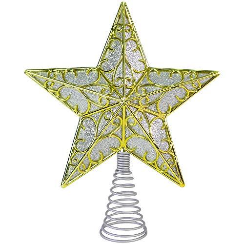 Ornativity Glitter Star Tree Topper - Christmas Sparkle Filled Metal Bethlehem Star Ornament
