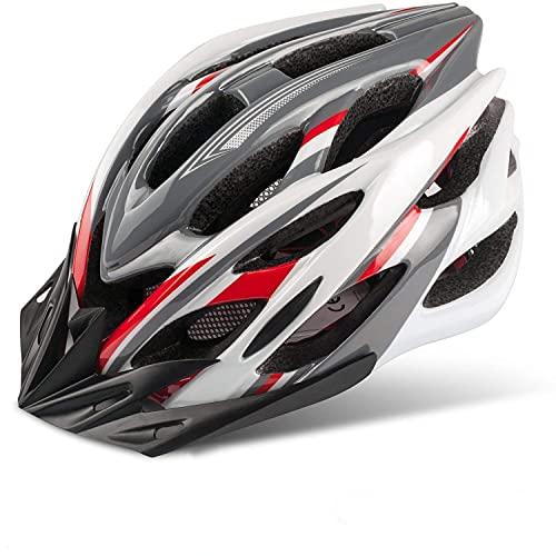 KINGLEAD Casco de Bicicleta con Luz LED Visera Casco Bici Unisex Protección Adulto para Ciclismo Seguridad superligera Hombre Mujere Ajustable Patinaje al Aire Libre con Certificado CE 57-62CM 🔥
