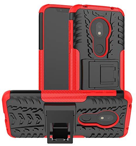 Yiakeng Hülle für Moto G7 Play Handyhülle, Doppelschicht Stoßfest Schlank Ganzkörperschutz Mit Ständer für Motorola G7 Play (Rot)