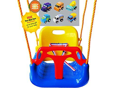 Littlefun 3-in-1 Säugling zum Kleinkind Swing Set Upgrade Anti-Flip Snug & Secure Abnehmbare Kinder Indoor Outdoor Spiel Home Patio Garten (Blau Stuhl)