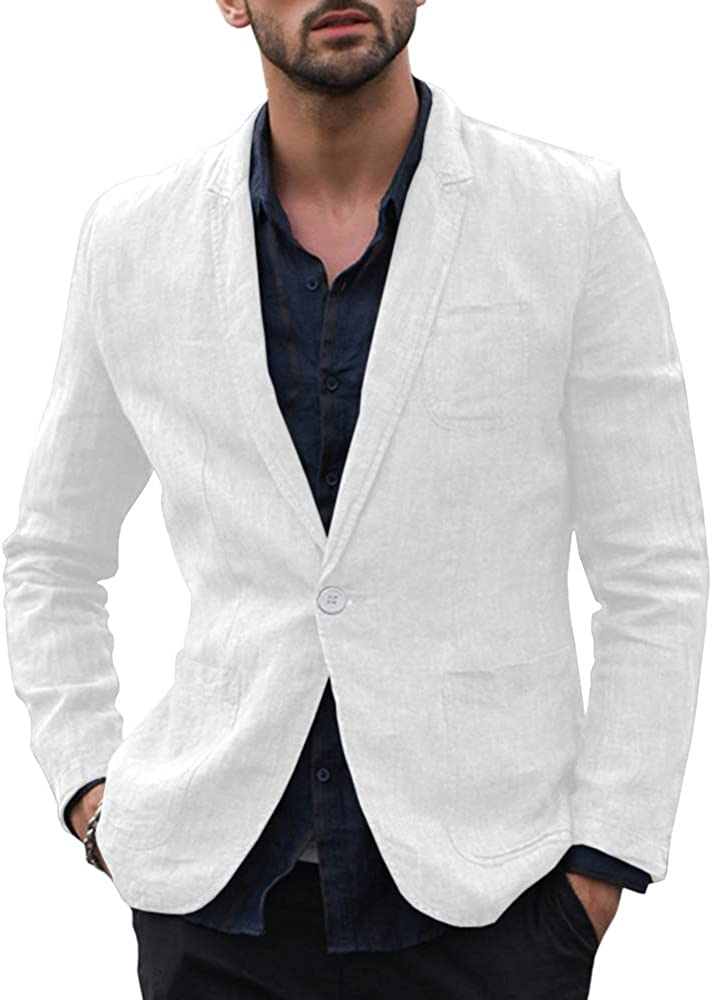 Enjoybuy Mens Casual Linen Tailored Blazer Long Sleeve Two-Button Lightweight Suit Jacket Sport Coat