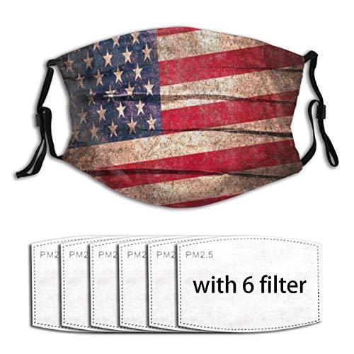 KOSALAER Face Cover Retro USA Flagge amerikanische Flagge auf rustikalem Holzbrett Planke Wiederverwendbare Anti-Staub-Mund-Bandanas mit 6 Filtern