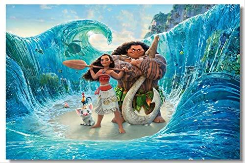 Benutzerdefinierte Leinwand Wandkunst Moana Maui Poster Vaiana Wandaufkleber Wand Moana Tapete Kinder Weihnachtsgeschenk Schlafzimmer Dekoration 40x60