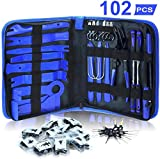 Dualeco Trim Removal Tool Set 102Pcs, Car Trim Puller Tool Kit, Plastic Pry Tools Set for Trim/Panel/Door/Audio, Auto Clip Pliers/Fastener Remover Set, Car Terminal/Stereo Removal Tool