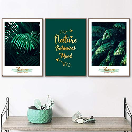 KWzEQ Tropical plants green leaf canvas wall art canvas art poster nordic living room decorative painting-Frameless painting30x40cmx3