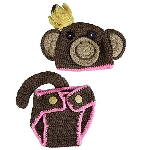 LUOEM pasgeboren baby fotografie prop meisje jongen haak gebreide hoed aap kostuum outfits set voor baby pasgeboren baby