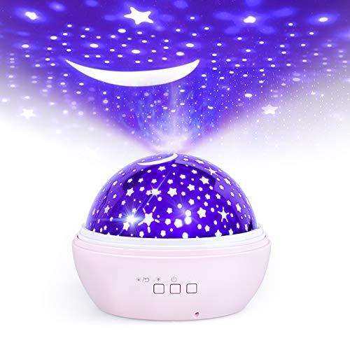 Proiettore Stelle Soffitto Bambini, Luce Notturna Proiettore per Neonati, FISHOAKY 8 Colori 360° Rotazione Luci Notte Proiettore Cielo Stellato, Led Lampada Proiettore Per Compleanno Regalo