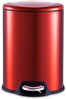 Poubelle à la maison Poubelle à pédale rouge en acier inoxydable, système de recyclage des déchets de salle de bains cuisi...