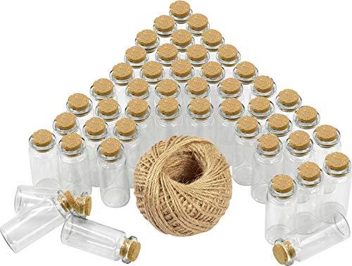 Wandefol 48pcs Botella de Vídrio con Tapón de Corcho, Botella de Mensaje, Botellas Cristales Pequeñas 10ml para Manualidad Decoración con Cordel Transparente a Prueba de Golpe Madera Yute Vídrio
