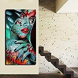 Graffiti Mujer Retrato Pintura al óleo póster y Grabado Grabado Sala Lienzo Pintura Arte Retrato,Pintura sin Marco,40X80cm