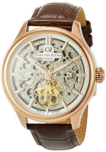 Carl von Zeyten Herren Analog Automatik Uhr mit Leder Armband CVZ0014RSL