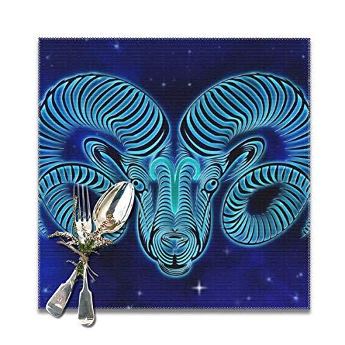 Rterss Ram Horoscoop Ontwerp Placemats Wasbaar Zacht En Kreuk Gratis Tafelmatten Set Van 12x12 In (6 Stks) Op maat