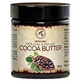 Beurre de Cacao 100g - 100% Pur et Naturel - Non Raffiné - Meilleur pour la Peau - Cheveux - Visage - Corps - Anti Rides - Idéal pour la Beauté - Relaxation - Massage - SPA - Bouteille en Verre