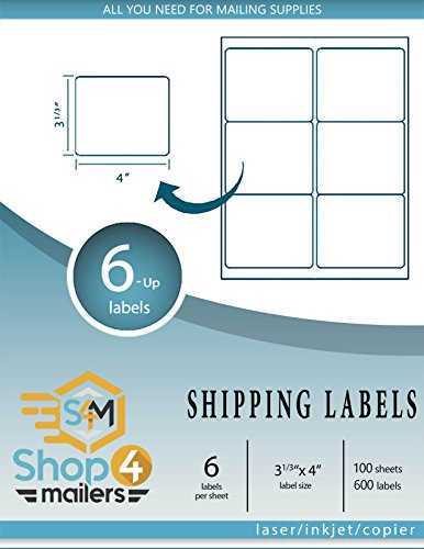 Shop4Mailers 6-Up White Shipping Labels 3 1/3' x 4' ~ 100 Sheets, 600 Labels