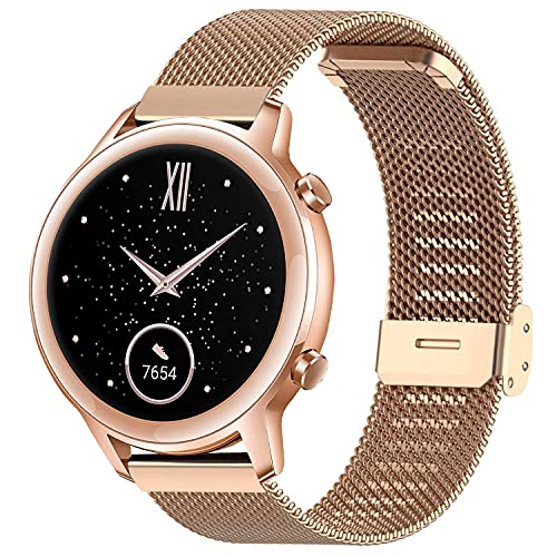 Correa Compatible con Huawei Watch GT/GT2 42mm/Honor Magic Watch 2 42mm/Samsung Galaxy Watch 42mm/Galaxy Watch Active 2 Correa Malla Metal Banda de Repuesto para Hombre/Mujer (20mm, Oro Rosa)