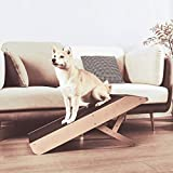 MDBT Small Dog Ramp for Sofa Couch & Low Beds, Wood Pet Ramp with Platform Top and Paw Traction Anti-Slip Surface, 35 in. Long Adjustable Height 21 in. Supports Cats and Large Dogs Up to 150 lbs