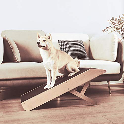 MDBT Small Dog Ramp for Sofa Couch, Solid Hardwood Beech Pet Ramp with Platform Top and Paw Traction...
