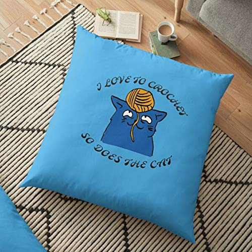 Fr75en I Love To Crochet,And So Does The Cat T,Shirt, Mug, Backpack, Pillow, Tote Cushion Covers 45cm x 45cm,Christmas Cushion Covers 18x18,Velvet Throw Pillow Case Cover,for Sofa,Bed,Living Room