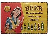 Chapa Vintage [ Mujer sirviendo Cerveza ]. Placa decorativa metálica con Relieve Retro de Cerveza para pared de Bar, Cafetería, Restaurante, Cervecería, o Cocina. Medidas 20x30 cm.