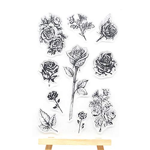 Welcome to Joyful Home 1pc Rose Flower Rubber Clear Stamp for Card Making Decoration and Scrapbooking