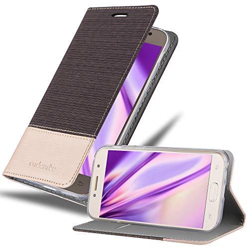 Cadorabo Hülle kompatibel mit Samsung Galaxy A3 2017 (7) Hülle in ANTRAZIT Gold Handyhülle mit Standfunktion und Kartenfach im Stoff