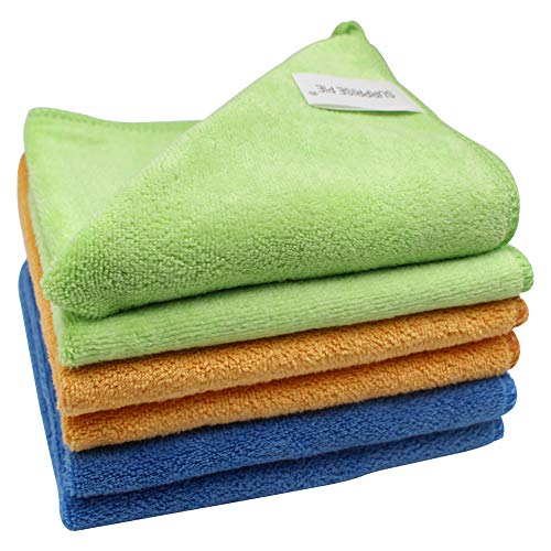 Microfiber Cleaning Cloth, 400 GSM Extra Thick, 6PCS (Green Blue Orange) All-Purpose Reusable Rags for Household Kitchen Car Window Cleaner 2PCS Screen Cloth as Gift
