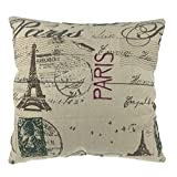 Luxbon Vintage Kissenbezug dauerhaft Leinen Dekokissen Paris Eiffelturm Hause Zimmer Cafe Sofa Auto...