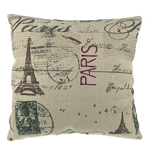 Luxbon Parigi Torre Eiffel Federa per Cuscino in Contone Lino Copricuscino Decorativo per Casa Divano Sedia Stanza Letto 45 x 45 cm