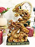 Ebros Gift Feng Shui Chinese Daoism Imperial Nine Dragons Golden Dragon King Decorative Statue with Black Pedestal Base 10.25' Tall Oriental Legendary Yin Yang Decor Figurine
