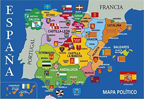 Postal Mapa Político de España Azul 16x11 cm.