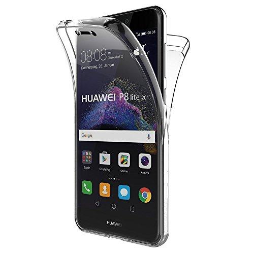REY Funda Carcasa Gel Transparente Doble 360º para Huawei P8 Lite 2017 / P9 Lite 2017, Ultra Fina 0,33mm, Silicona TPU de Alta Resistencia y Flexibilidad
