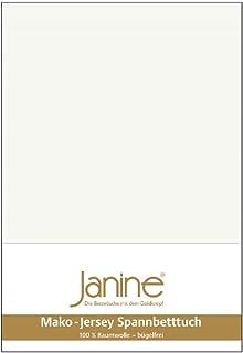 Janine Mako 5007 Drap-housse en jersey de coton mako Écru (09) 90 x 190 cm à 100 x 200 cm
