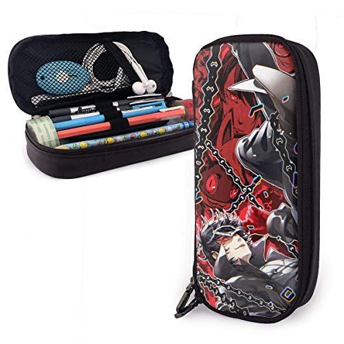 Persona 5 Shin Megami Tensei Leder Federmäppchen Aufbewahrung Briefpapier Taschen Halter Box Reißverschluss Unisex für Schule/Beamte/Kapazität/Pen Pencil Pouch Box