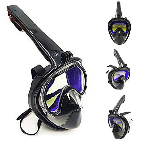 HUOFEIKE Máscara Facial Completa de Snorkeling para esnórquel, Equipo de Buceo con Soporte de cámara Tubo respiratorio de Silicona protección Solar para Hombres y Mujeres Mayores de 10 años,S/M
