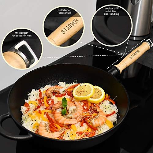 StarWok Wok de hierro fundido para inducción [31 cm] para cocina y parrilla, wok