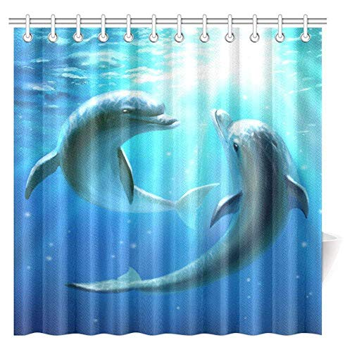 """Big buy store Shower Curtain Ocean Dolphins Wildlife Underwater Animals Tropical Aquatic Nature Picture ,Waterproof Fabric Bathroom Decor Set with Hooks(72"""" x 72"""")"""