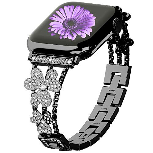 WILNARA Bling Diamond Band Compatible with Apple Watch 40mm 38mm Thin Bracelet Band with Invisible Adjustable Buckle Clasp for Women Girls iWatch Series6/5/4/3/2/1/SE -Rose Silver Black