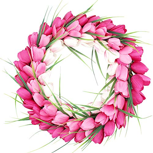 H&W Tulip Wreaths for Front Door Décor, 15'' Springtime Silk Flower Wreath for Window Wall Party Wedding Valentines Day Hanging Decorations, Pink Garland (MC12-D2)