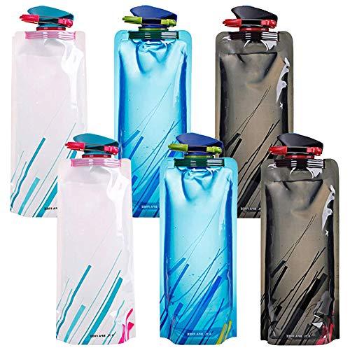 Bolsa de Agua Reutilizable Plegable , NALCY Botella de Agua Plegable para Deportes al Aire Libre Ciclismo Senderismo Deportes Senderismo Escalada mochilero 700ML-6PCS