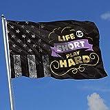Elaine-Shop Drapeaux d'extérieur Worn-Out USA Flag La Vie est Un Jeu Court Hard1 4 * 6 Ft Flag for Home Decor Sports Fan Football Basketball Baseball Hockey