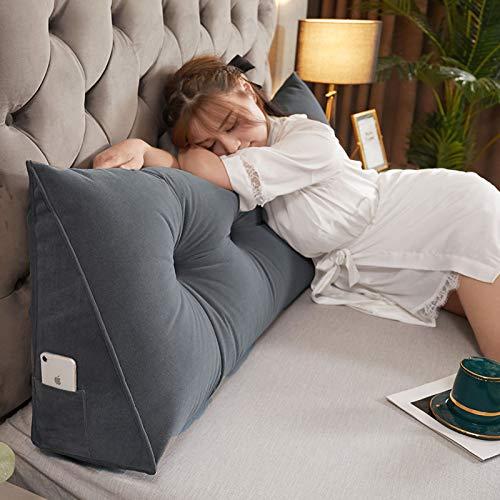 GLLSZ Gefüllt Dreieckige Keil Kissen Stärken Lesekissen Rest Kissen Rückenkissen Gepolstert Kopfteil Lumbar Pad Bettrücken Zu Bed Sofa Liege-Grau 120 * 20 * 50cm